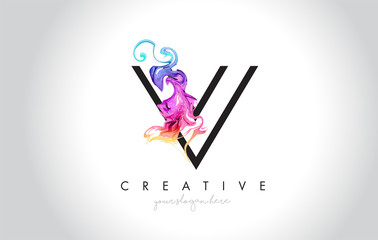 V Vibrant Creative Leter Logo Design with Colorful Smoke Ink Flowing Vector.
