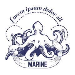 Marine big octopus with tentacles monochrome sketch outline