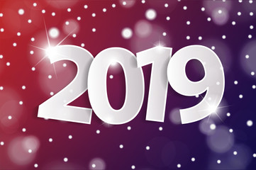 Red and violet Happy New Year 2019 greeting card concept with paper cuted white numbers. Vector illustration