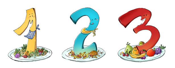 3 platos de comida