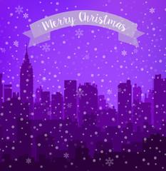 Christmas city flat background