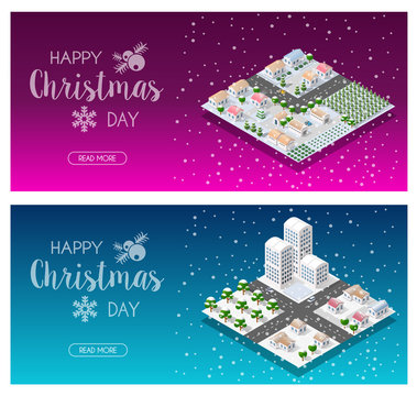 Isometric city landscape snow covered Christmas tree in the snow winter holiday
