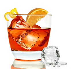 Americano or Negroni cocktail with orange slice in the rocks glass isolated on white background.