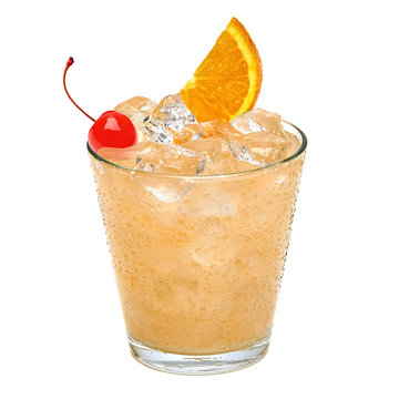 John Collins or Whiskey sour cocktail with maraschino cherry and orange slice isolated on white background