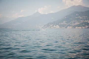Boat on Lake Como, Italy, on a summer day.