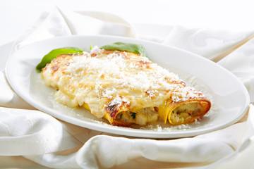 Restaurant Main Course of Cannelloni Pasta