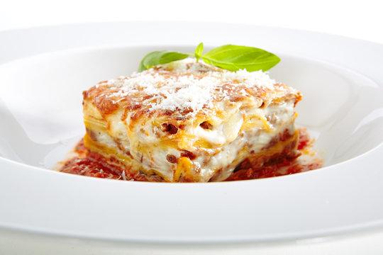 Traditional Homemade Italian Lasagna with Tomato Sauce