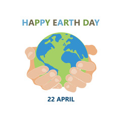 hands holding earth round on white background colored symbol earth day