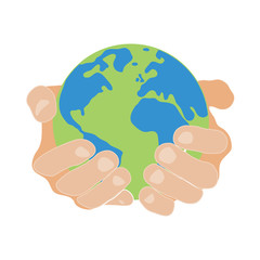 hands holding earth round on white background colored symbol