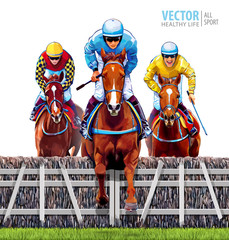 Equestrian sport. Triathlon. Jockey riding jumping horse. Horse racing. Hippodrome. Racetrack. Trio racing horses competing with each other. Isolated on white background. Vector illustration.