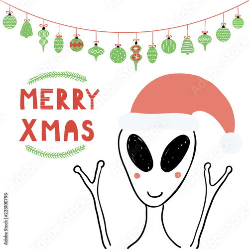 Hand drawn vector illustration of a cute funny alien in a Santa ...