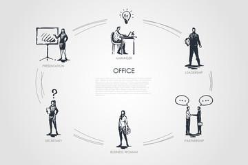 Office - manager, presentation, secretary, business woman, leadership, partnership vector concept set