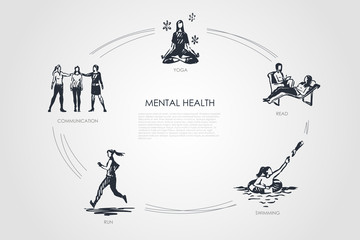 Mental health - communication, yoga, read, swimming, run vector concept set