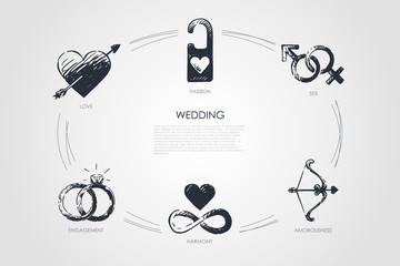 Wedding - love, sex, engagement, harmony, amorousness, passion vector concept set
