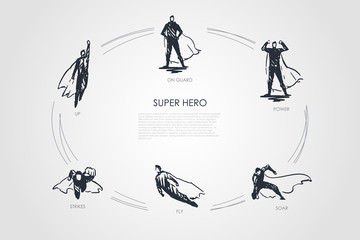 Super Hero - up, strikes, fly, soar, power, on guard vector concept set