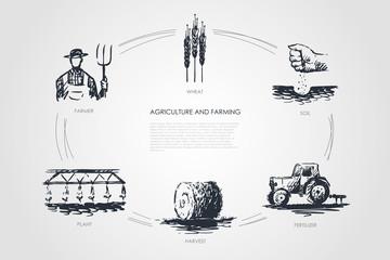 Agriculture and Farming -farmer, soil, wheat, plant, harvest, fertilizer vector concept set Fotomurales