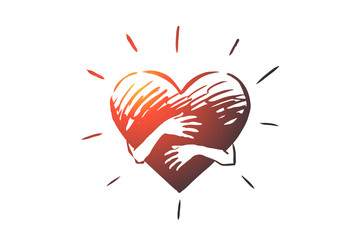 Sincerity, love, care, hand, heart concept. Hand drawn isolated vector.