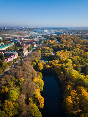 Aerial: South park in Kaliningrad in autumn