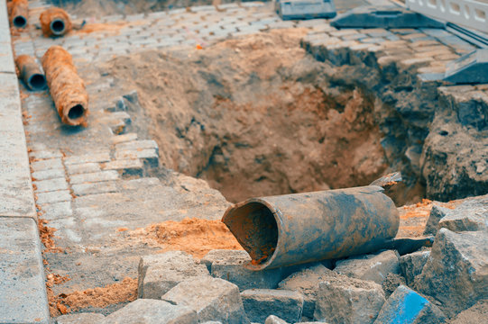 bursted Water pipe under a road