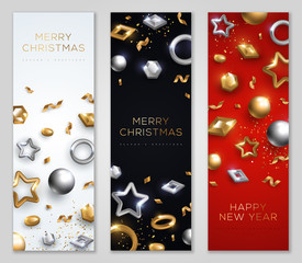 Christmas and New Year banners set