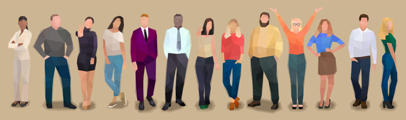Group of people in a row, retro watercolor volume vector