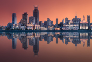 Shanghai skyline during the red sunset, China