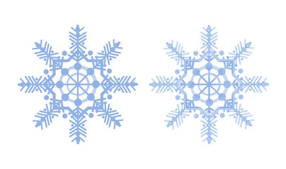 Snowflakes on a white background, matte and frosty