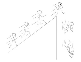 Cartoon stick drawing conceptual illustration of people following they dreams and disillusion when they finally meet the reality. Metaphorical illustration of line of enthusiastic men running up the