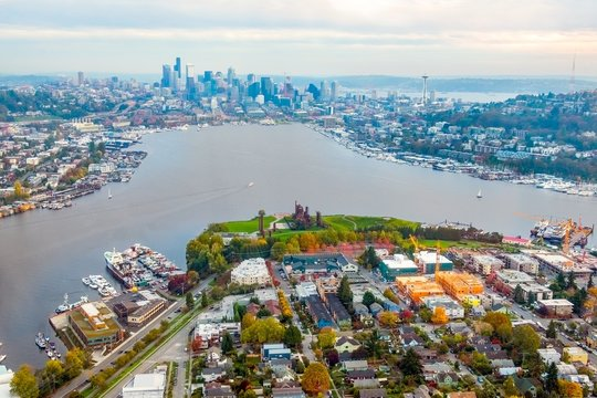 Downtown Seattle view from above Gasworks Park- Aerial