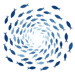 School of fish. Clipart image isolated on white background