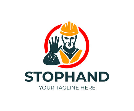 Man builder in helmet and reflective vest gesturing with stop hand in red circle, logo design. Construction, road works, warning sign of danger, stop entrance denied, vector design and illustration