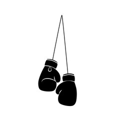 Hanging boxing gloves silhouette icon. Clipart image isolated on white background