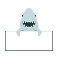 Cartoon smile shark with open mouth. Clipart image isolated on white background