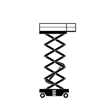 Scissors lift silhouette icon. Clipart image isolated on white background