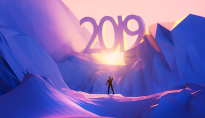3d illustration upcoming 2019 new year concept.