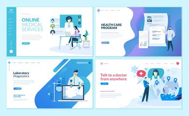 Set of web page design templates for online medical support, health care,  laboratory, medical services. Modern vector illustration concepts for website and mobile website development.
