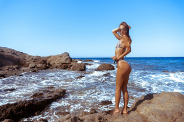 sexy young girl in a bikini on a rocky beach
