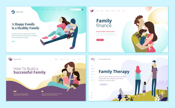 Set of web page design templates for family finance, health care, family therapy. Modern vector illustration concepts for website and mobile website development.