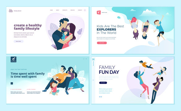Set of web page design templates for family fun and entertainment, children's activities, healthy and safe environment for the family. Vector illustration concepts for website development.