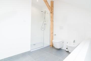 White loft bathroom with glass shower cabin.