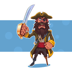 Cartoon pirate with a sword.Vector illustration, eps 10.