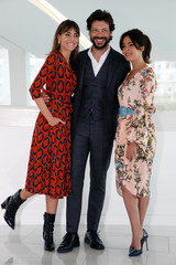 "Alvaro Morte, Veronica Sanchez and Irene Arcos pose during a photocall for the television series "" The Pier"" during the annual MIPCOM television programme market in Cannes"