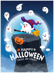 Vintage Halloween poster design with vector witch ghost character.