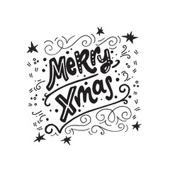 Merry Xmas hand lettering phrase.