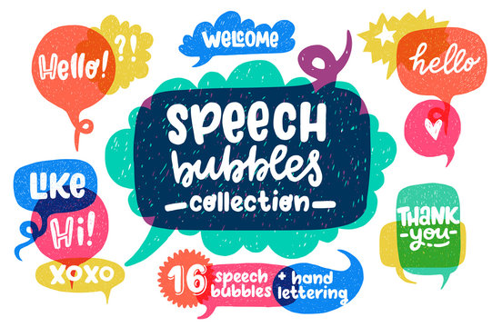 Hand drawn speech bubbles set and lettering