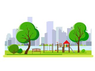 Children's playground in the city's public park. Vector illustration.