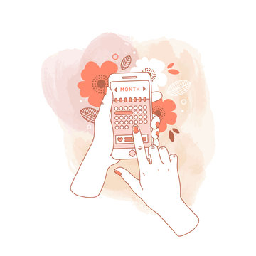 Woman hand holding smartphone with menstruation cycle calendar on watercolor background. Floral phone in hands. Vector illustration