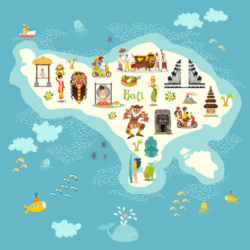 .Bali map vector illustration. Illustrated map of Bali for children/kid. Cartoon abstract atlas of Bali with landmark and touristic symbol: temple, meditation, traditional dance, surfing and volcanic.