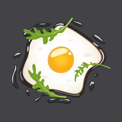 Fried eggs with arugula, isolated on grey background. Vector illustration.