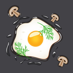 Fried eggs with dill and mushrooms, isolated on grey background. Vector illustration.